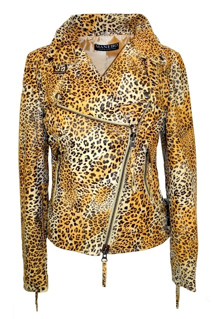 Bikerjacke im Animalprint Look | MANEBO